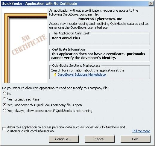 You give permission for all QuickBooks contact with our rental software
